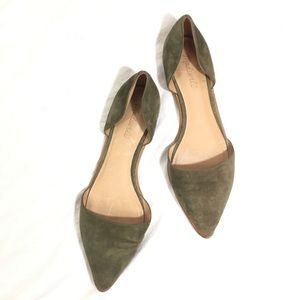 Madewell Olive Suede Arielle D'orsay Flats Shoes